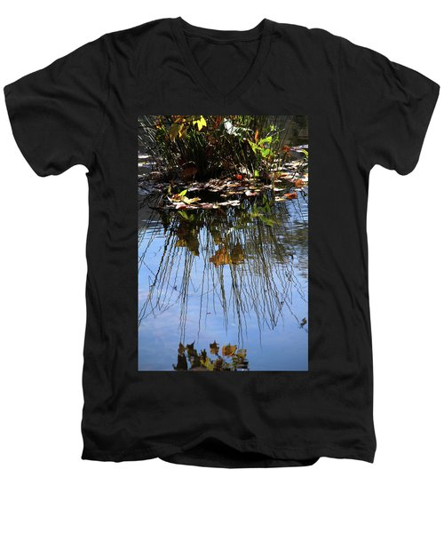 Water Reflection Of Plant Growing In A Stream Men's V-Neck T-Shirt by Emanuel Tanjala