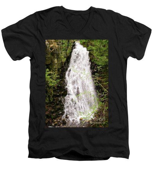 Water Roaring Down Cascade Falls, Farmington, Maine  -30377 Men's V-Neck T-Shirt