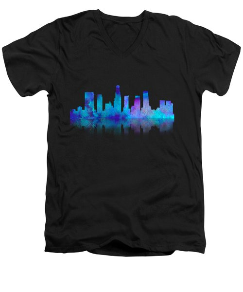 Watercolor Los Angeles Skylines On An Old Paper Men's V-Neck T-Shirt