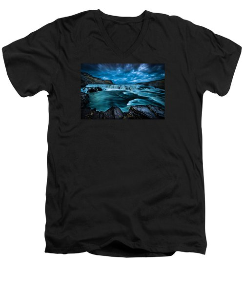 Men's V-Neck T-Shirt featuring the photograph Waterfall Drama by Chris McKenna