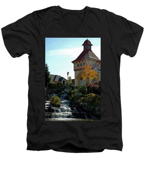 Men's V-Neck T-Shirt featuring the photograph Waterfall Frankenmuth Mich by LeeAnn McLaneGoetz McLaneGoetzStudioLLCcom