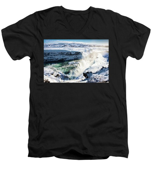 Men's V-Neck T-Shirt featuring the photograph Waterfall Gullfoss Iceland In Winter by Matthias Hauser