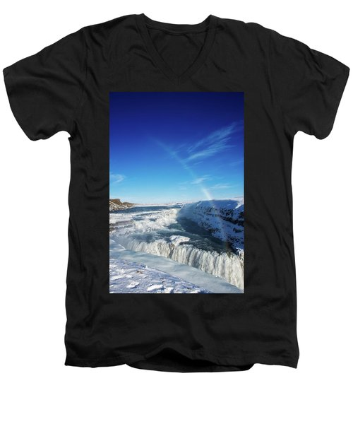 Men's V-Neck T-Shirt featuring the photograph Waterfall Gullfoss In Winter Iceland Europe by Matthias Hauser
