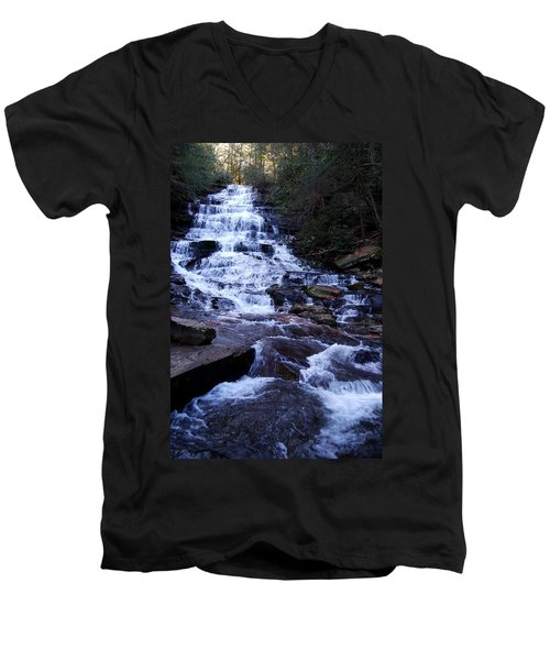 Waterfall In Georgia Men's V-Neck T-Shirt by Angela Murray