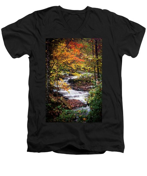 Men's V-Neck T-Shirt featuring the photograph Waterfall Kaleidoscope  by Parker Cunningham