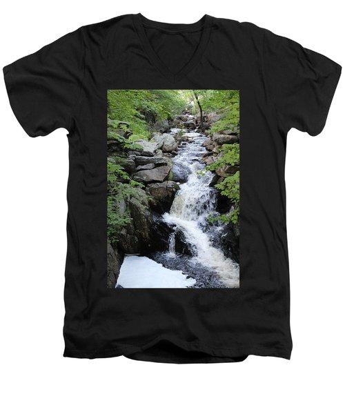 Waterfall Pillsbury State Park Men's V-Neck T-Shirt
