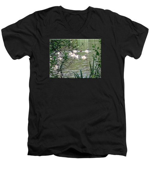 Waterfowl At The Park Men's V-Neck T-Shirt by Mikki Cucuzzo