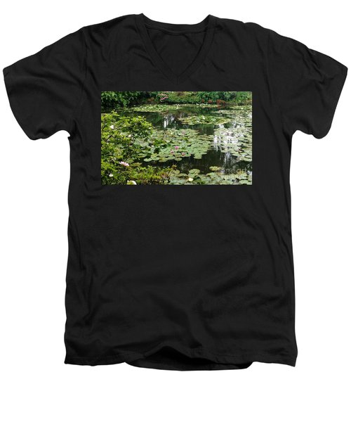 Men's V-Neck T-Shirt featuring the photograph Waterlilies At Monet's Gardens Giverny by Therese Alcorn