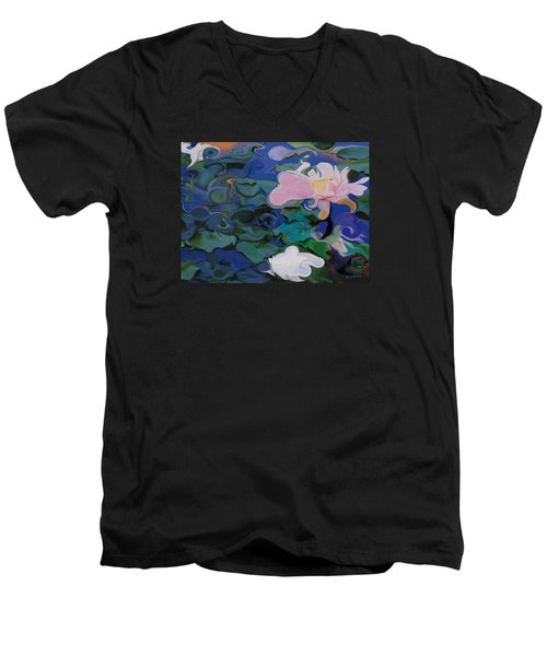 Waterlilies Six Men's V-Neck T-Shirt by David Klaboe