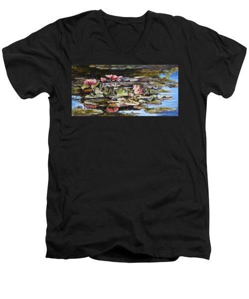 Waterlilies Tower Grove Park Men's V-Neck T-Shirt by Irek Szelag
