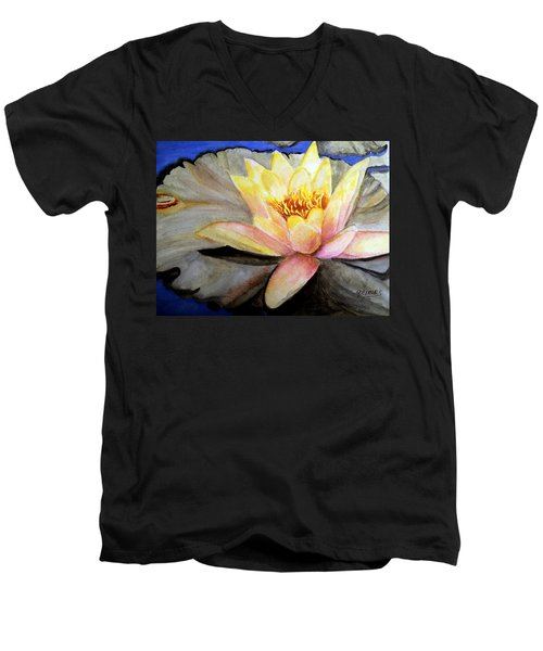 Waterlily  Men's V-Neck T-Shirt by Carol Grimes
