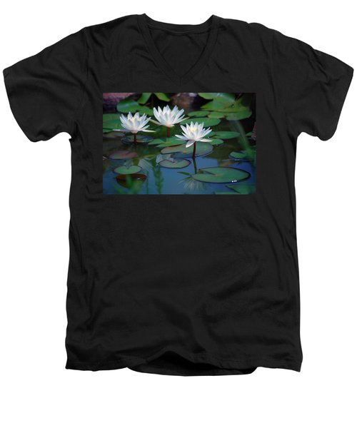 Waterlilys Men's V-Neck T-Shirt by Robert Meanor
