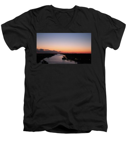 Waterway Sunset #1 Men's V-Neck T-Shirt