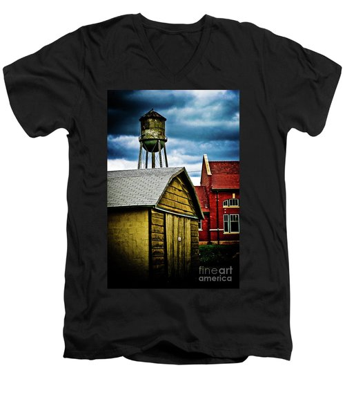 Waurika Old Buildings Men's V-Neck T-Shirt by Toni Hopper