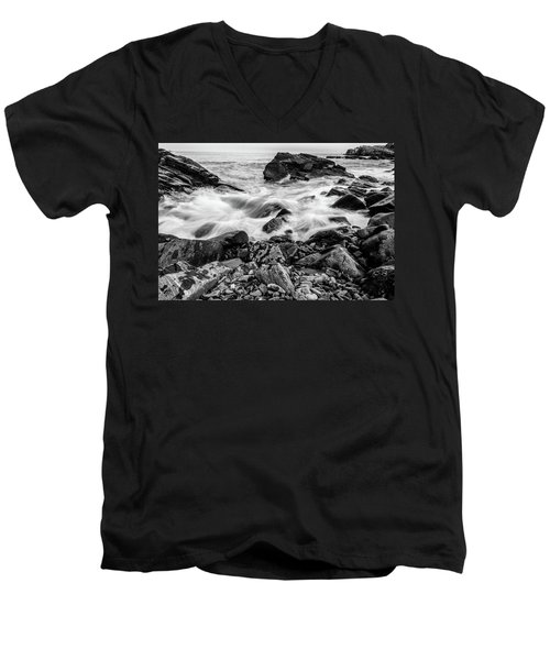 Waves Against A Rocky Shore In Bw Men's V-Neck T-Shirt