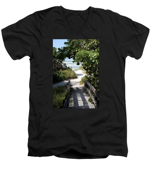 Way To The Beach Men's V-Neck T-Shirt by Christiane Schulze Art And Photography