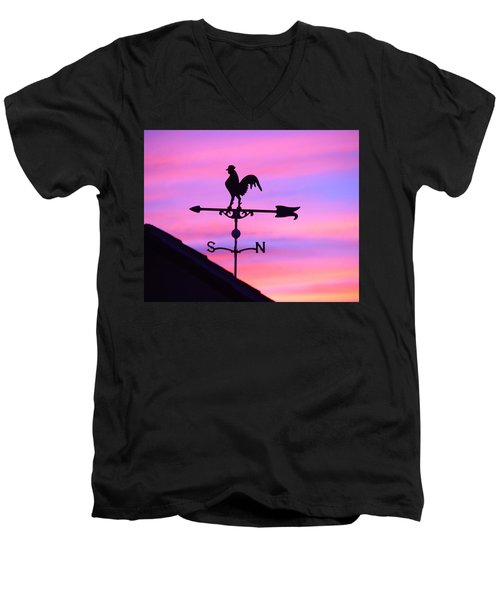 Men's V-Neck T-Shirt featuring the digital art Weather Vane, Wendel's Cock by Jana Russon