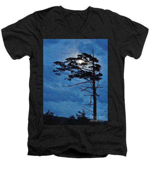 Weathered Moon Tree Men's V-Neck T-Shirt by Michele Penner