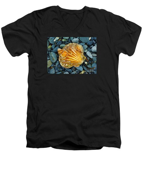 Weathered Scallop Shell Men's V-Neck T-Shirt by Judi Bagwell