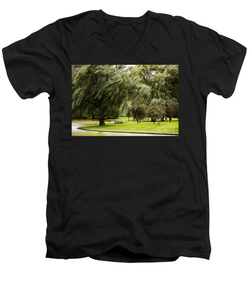 Weeping Willow Trees On Windy Day Men's V-Neck T-Shirt by Carol F Austin