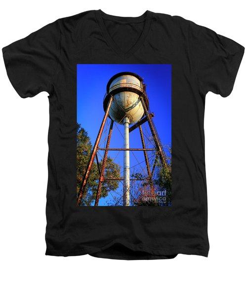 Men's V-Neck T-Shirt featuring the photograph Weighty Water Cotton Mill  Water Tower Art by Reid Callaway