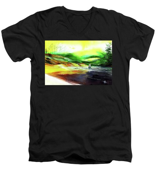 Men's V-Neck T-Shirt featuring the painting Welcome Back by Anil Nene