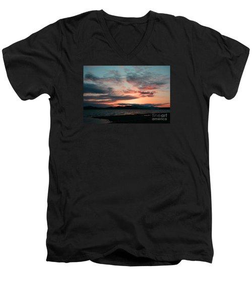 Welcome Beach Sunset 2015 Men's V-Neck T-Shirt by Elaine Hunter