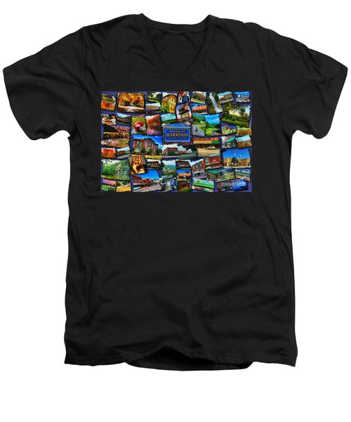 Men's V-Neck T-Shirt featuring the digital art Welcome To Harrison Arkansas by Kathy Tarochione