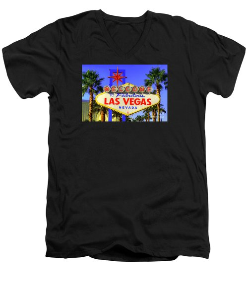 Welcome To Las Vegas Men's V-Neck T-Shirt by Anthony Sacco