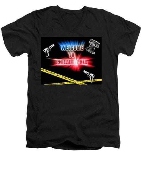Welcome To Philadelphia Men's V-Neck T-Shirt by Christopher Woods