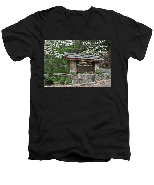Welcome To Signal Mountain Spring Men's V-Neck T-Shirt