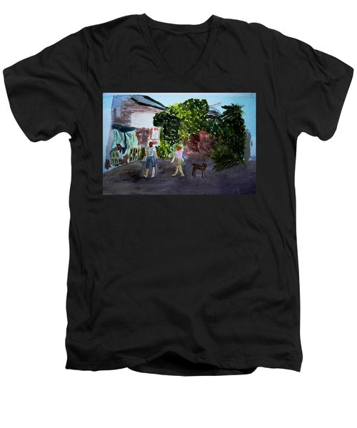 Men's V-Neck T-Shirt featuring the painting West End Shopping by Donna Walsh