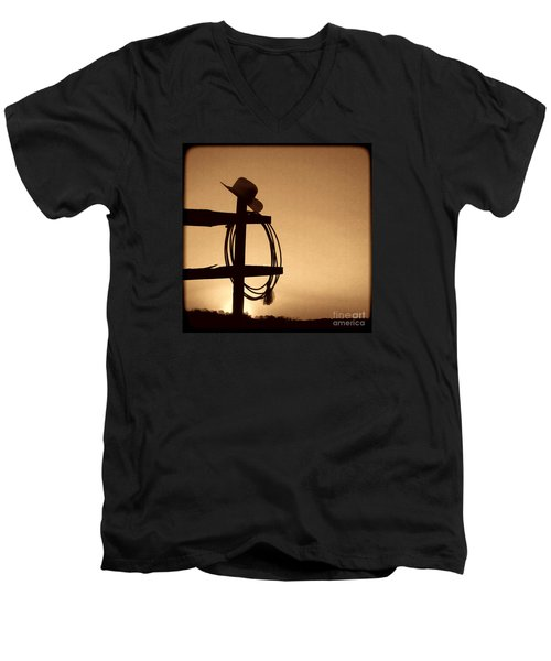 Western Sunset Men's V-Neck T-Shirt by American West Legend By Olivier Le Queinec