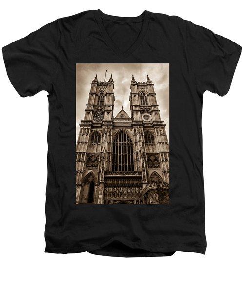 Westminister Abbey Sepia Men's V-Neck T-Shirt