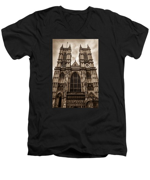 Westminister Abbey Sepia Men's V-Neck T-Shirt