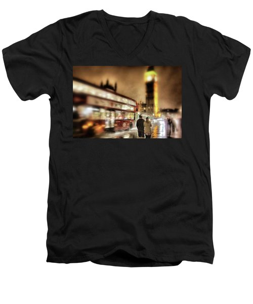 Westminster Bridge In Rain Men's V-Neck T-Shirt by Jim Albritton