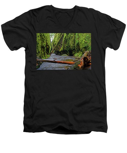 Men's V-Neck T-Shirt featuring the photograph Wet Trail by Jonathan Davison