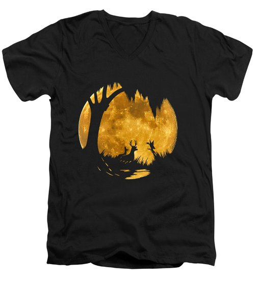 Wetland Wildlife Massive Moon .png Men's V-Neck T-Shirt