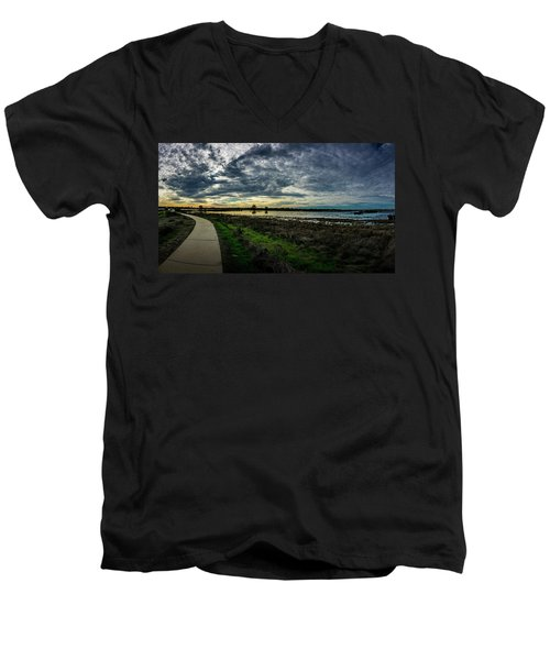 Wetlands Sunset Panorama Men's V-Neck T-Shirt
