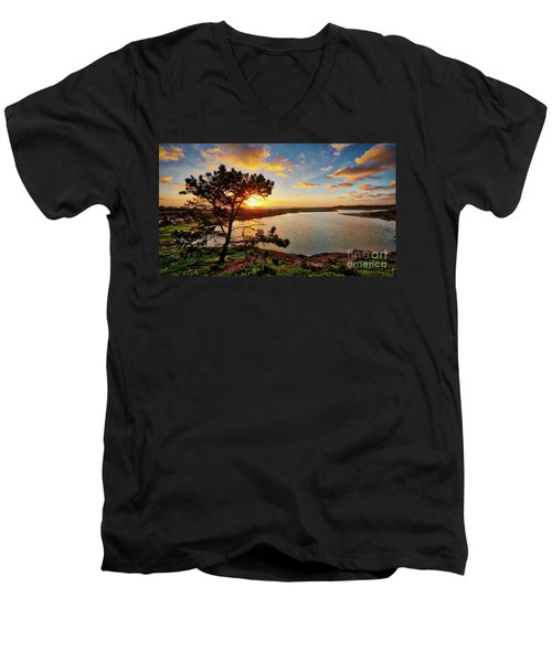 What A Glow At The Batiquitos Lagoon Men's V-Neck T-Shirt