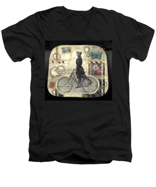 Men's V-Neck T-Shirt featuring the painting Whatever Happens by Casey Rasmussen White