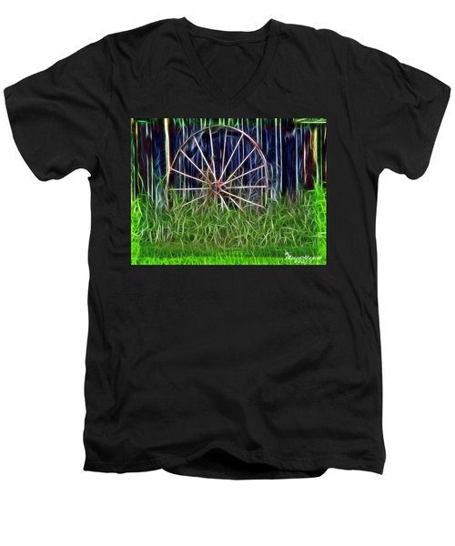 Men's V-Neck T-Shirt featuring the photograph Wheel Of Fortune by EricaMaxine  Price