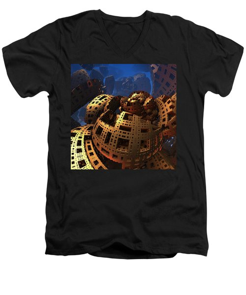 Men's V-Neck T-Shirt featuring the digital art When Black Friday Comes by Lyle Hatch