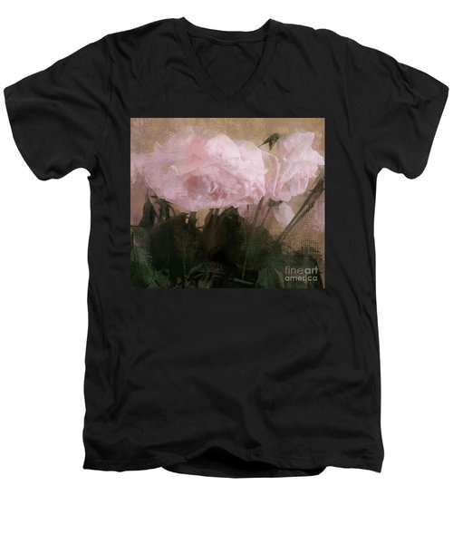 Men's V-Neck T-Shirt featuring the digital art Whisper Of Pink Peonies by Alexis Rotella