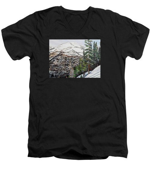 Men's V-Neck T-Shirt featuring the painting Whispering Pines by Marilyn  McNish
