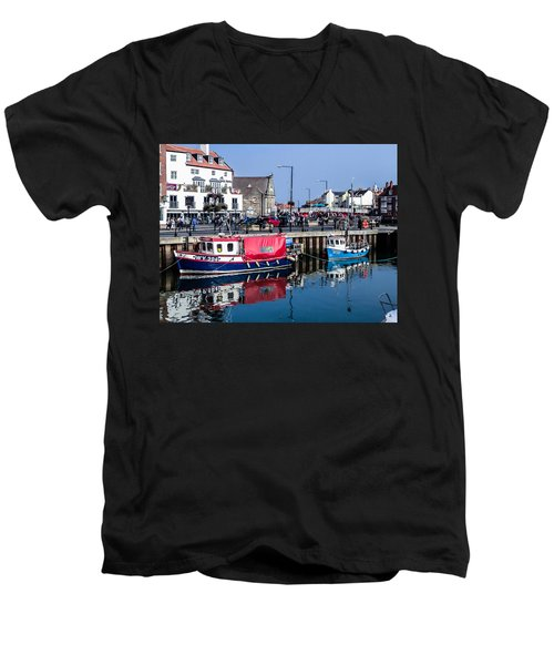 Whitby Harbor, United Kingdom Men's V-Neck T-Shirt