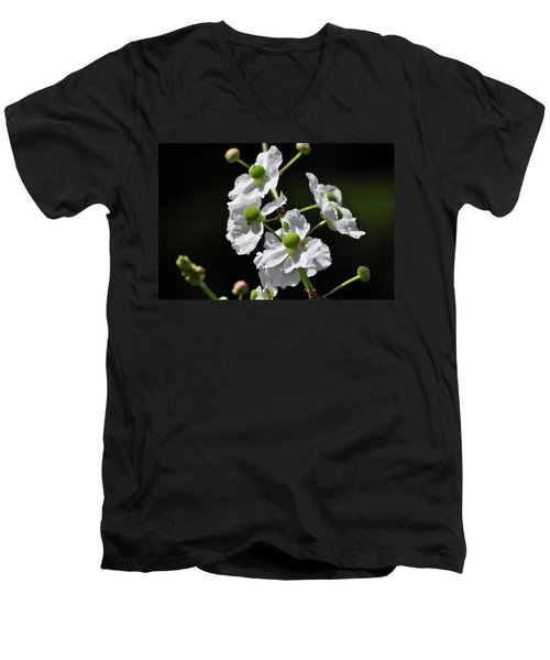 White And Green Wildflowers Men's V-Neck T-Shirt