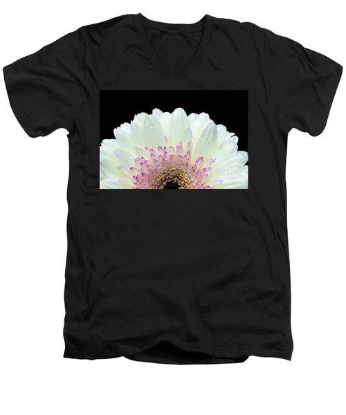 White And Pink Daisy Men's V-Neck T-Shirt