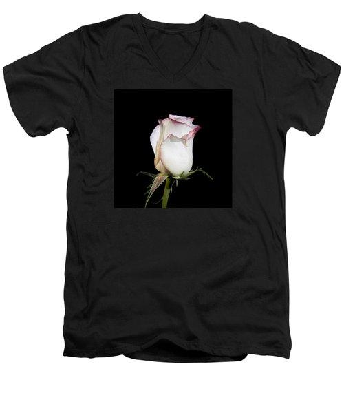 White And Red  Men's V-Neck T-Shirt