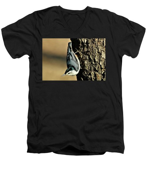 White-breasted Nuthatch On Tree Men's V-Neck T-Shirt by Sheila Brown